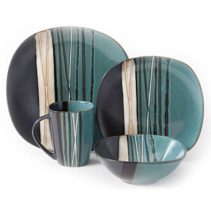 Square Dinnerware Set 4 Stoneware pcs Bowls Mug