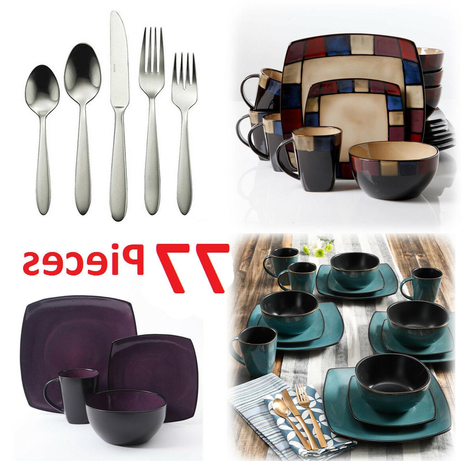 Square Dinnerware Set For 8 77Pcs Stoneware Kitchen 32Pc Pla