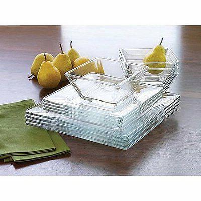 Mainstays 12-Piece Square Glass Dinnerware Set