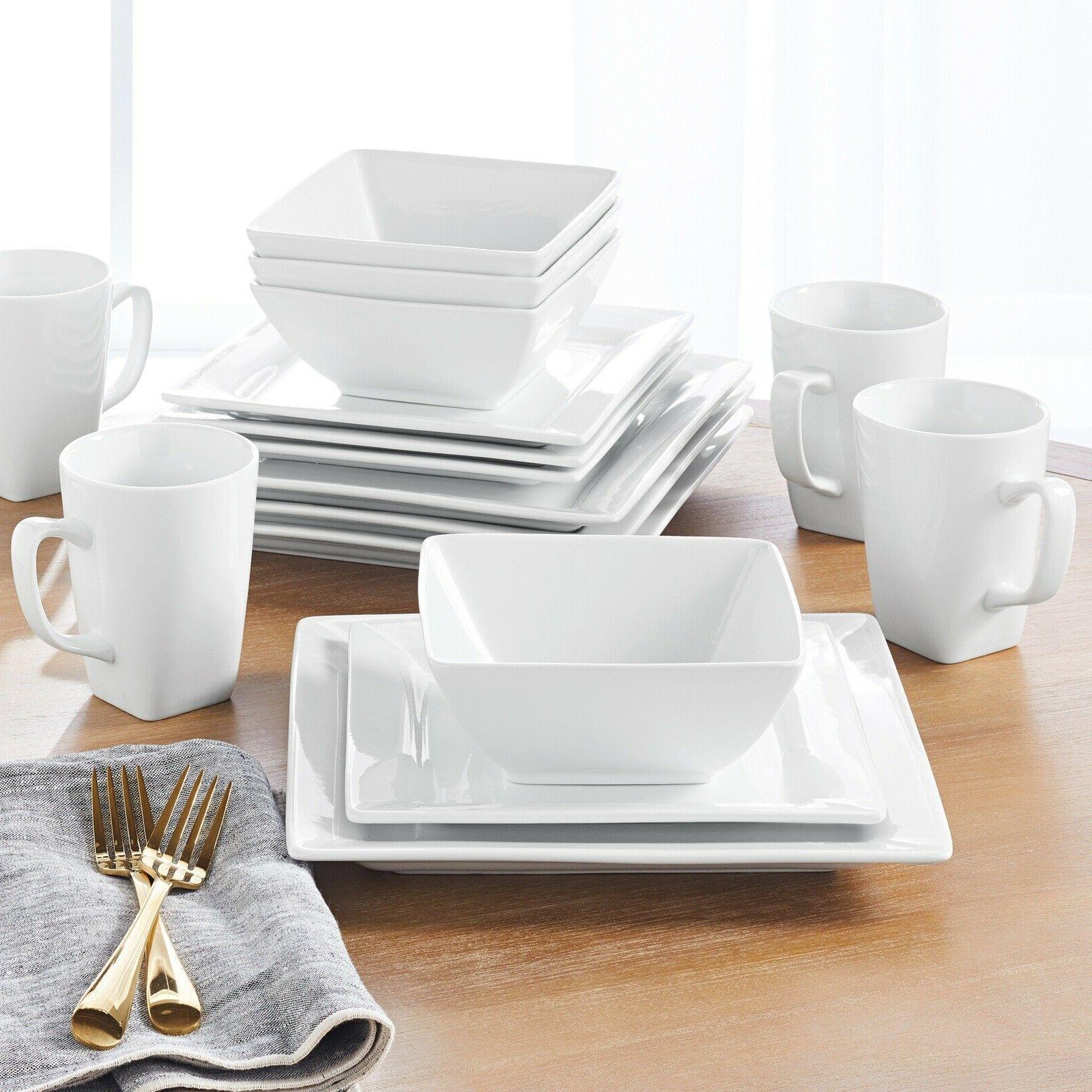 square porcelain dinnerware set