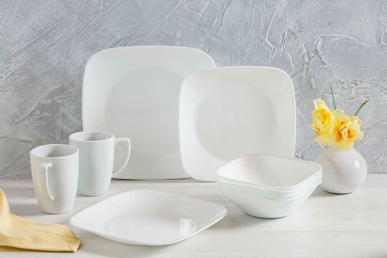 square pure white 16 piece dinnerware set