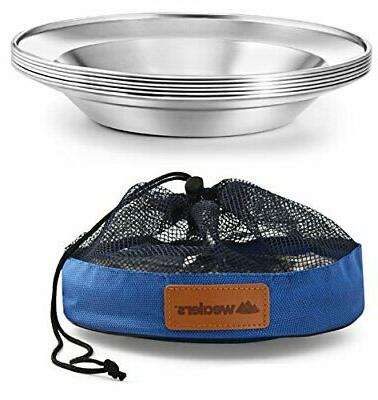 stainless steel camping plate set portable dinnerware