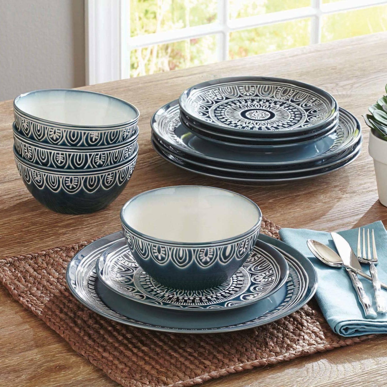 Modern 12-24 Piece Dinnerware Set For 4-8 Plates Bowls Teal
