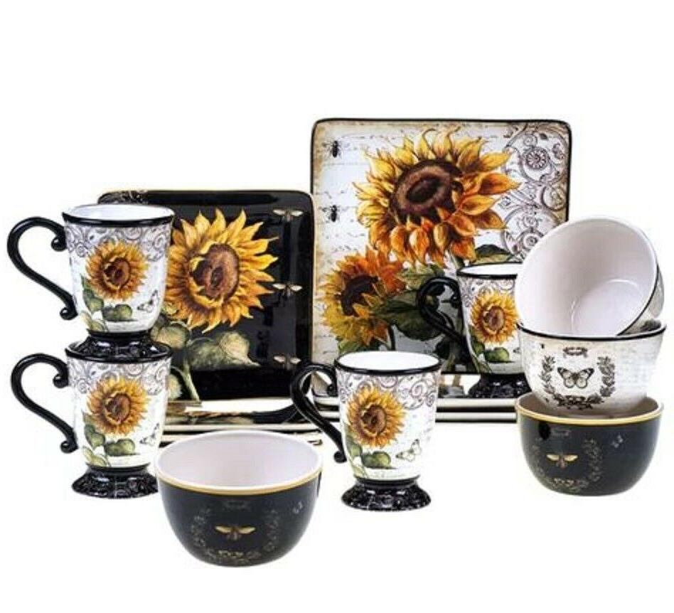 sunflower square 16 piece dinnerware set service