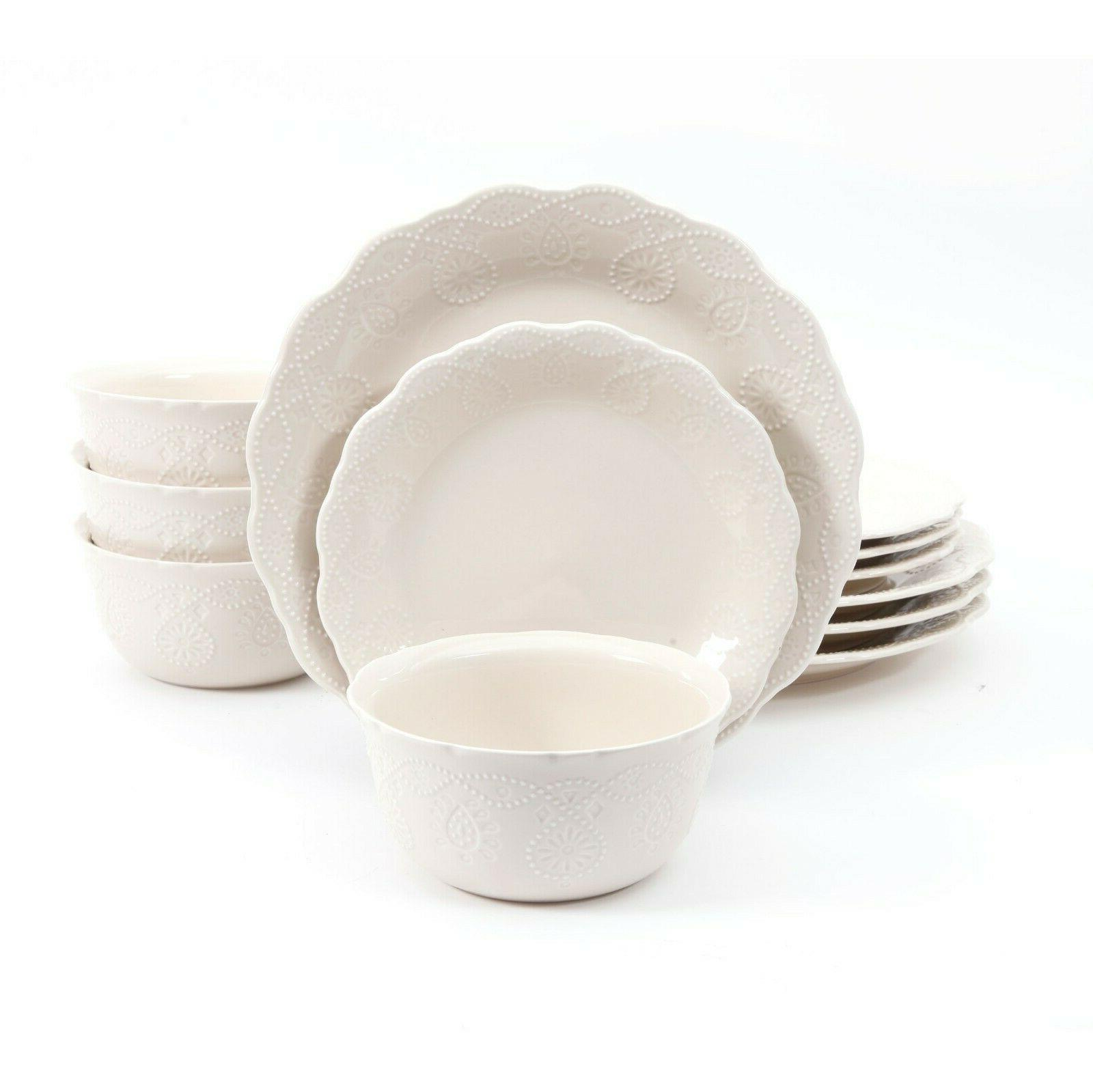 The Pioneer Woman Cowgirl Lace 12-Piece Dinnerware Set + CHO