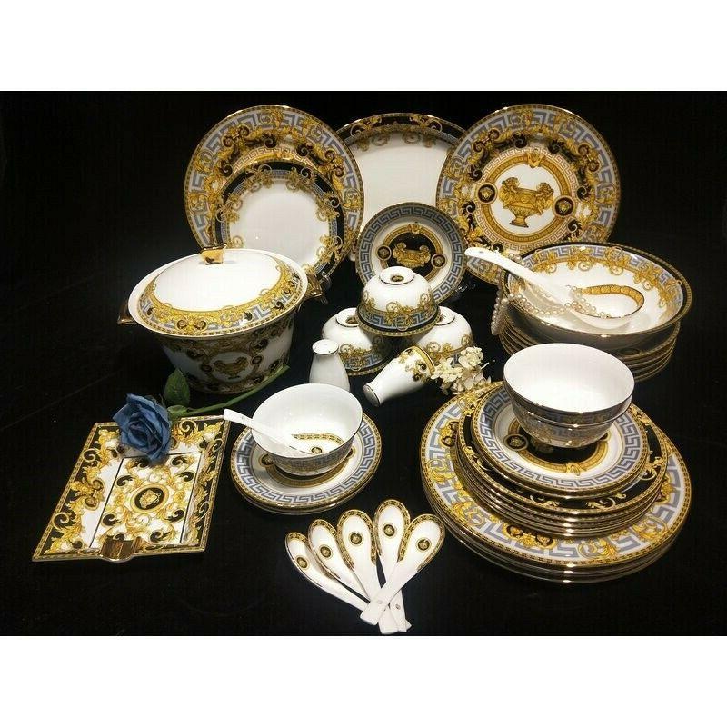 versace style 44 piece bone china dinnerware