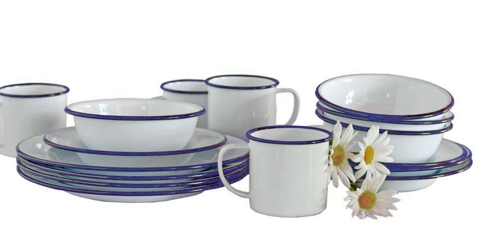 vintage style enamelware 16 pc starter dinnerware