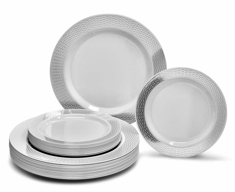 Wedding Plastic Plates Disposable Dinnerware 25 Guests 50 Pi