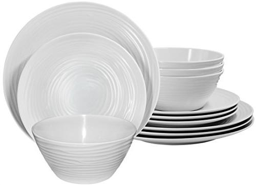 Parhoma White Melamine Home Dinnerware Set, for