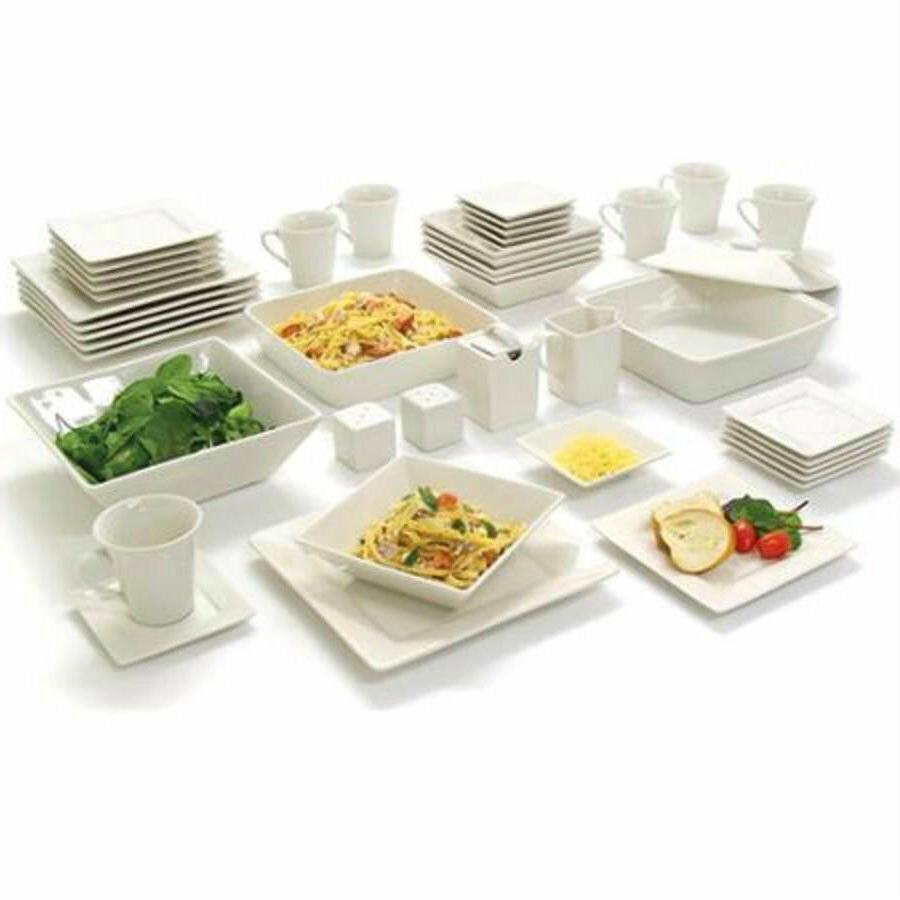 white square dinnerware service set