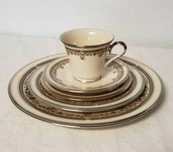 Lenox Lace Point China 5 Piece Place Setting Silver Trim Mad