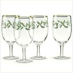 Lenox Holiday Iced Beverage Glass Goblets Set of 4 NEW IN BO