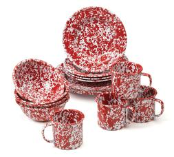 marbled enamelware 16 pc starter dinnerware set