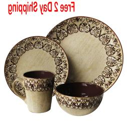 mehndi 16pc dinnerware set brown