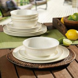 Melamine 12 Piece Dinnerware Set in 2 Colours**FREE & FAST D