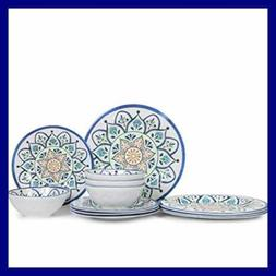 Melamine Dinnerware Set 12 Pcs Plates & Bowls Sets Dishes Ca