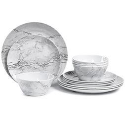 Melamine Dinnerware Set for 4-12 Piece Dinner Dishes Set for