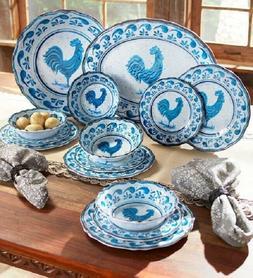 Melamine Dinnerware Set Blue & White Country Farmhouse Roost