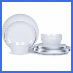 Melamine Dishes Dinnerware Set 12Pcs Plates & Bowls For 4 In
