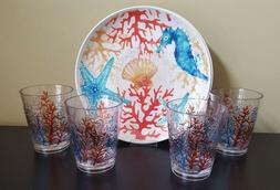 Cynthia Rowley Melamine Seahorse Coral Plates Glasses Dinner