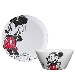 Zak Designs Mickey Mouse 10in Durable Melamine Plate + Bowl
