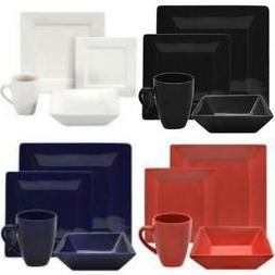 Modern Dinnerware Set 16 Piece Square Dinner Plates Bowls Ki