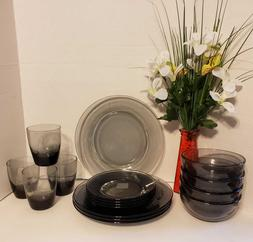 Modern Translucent Smoked Glass Dinnerware Set 16 Pieces