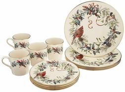NEW Lenox 12 PCS SET Winter Greetings Dinner Salad Mugs CHRI