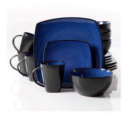 New Blue 16 Piece Dinnerware Set Plates Cups Bowls Service o