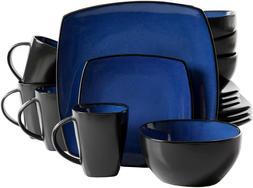 New Blue & Black Soho Square Lounge Stoneware Double Tone Ce