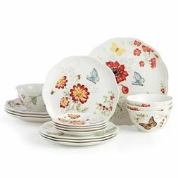 New Lenox Butterfly Meadow 16-Piece Dinnerware Set~Red~Servi