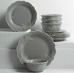 New Lenox Butterfly Meadow Carved 24-Piece Dinnerware Set~Sl
