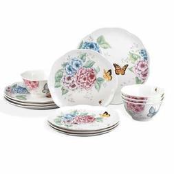 NEW Lenox Butterfly Meadow Hydrangea 12-piece Dinnerware Set