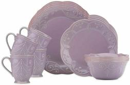 New Lenox French Perle 16-Piece Dinnerware Set~Violet~Bowls