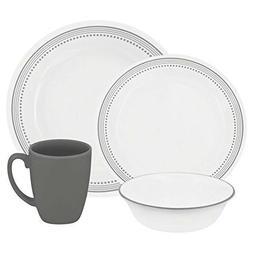 New Corelle Livingware Mystic Gray 16 piece Dinnerware Sep