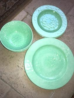 New American  Atelier Melamine 12 Piece Dish Set Plates Bowl