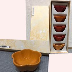 New Le Creuset Mini Flower Bowl 5 piece set Orange From Japa