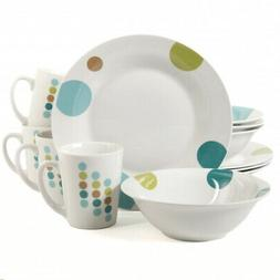 Gibson Home Retro Specks 12 Piece Stoneware Multicolored Din