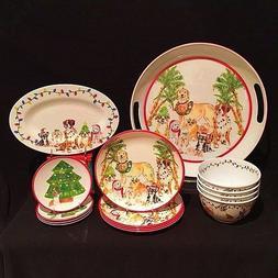 ON SALE Christmas Puppies Melamine Dinnerware 14 Piece Delux
