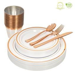 *On SALE* Elegant ROSE GOLD Disposable Dinnerware Set for 26