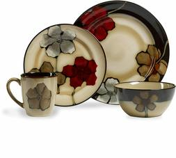 Painted Poppies Dinnerware Set 16 Piece  Dinner Stoneware Mu