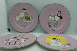 American Atelier Porcelain Pink Poodle Canape Plate Set of f