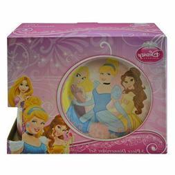 Disney Princess 3 Piece Ceramic Dinnerware Set Plate, Bowl,