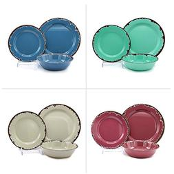 Rustic Melamine Dinnerware 12 Pc Set Vintage-Inspired Way To