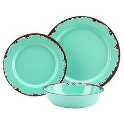 Rustic Melamine Dinnerware Set - 12 Pcs Yinshine Outdoor Cam