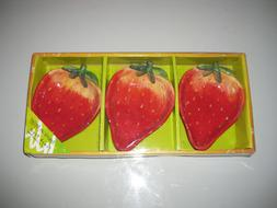 American Atelier Set of 3 Snack Plates Fruit Strawberry Red