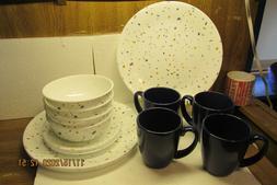 signature terrazzo 16pc dinnerware set new no