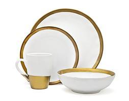 Godinger Terre Dor Dining Dinner Dinnerware Set White And Go