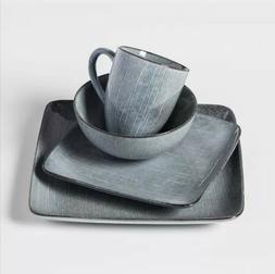 Solene Square Stoneware 16pc Dinnerware Set Dark Gray - Proj