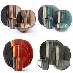 square dinnerware set for 4 stoneware kitchen